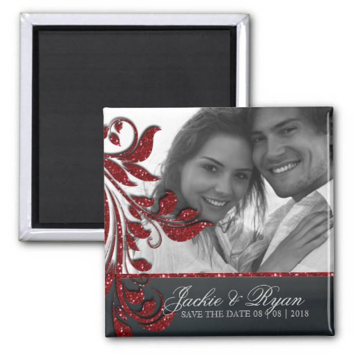 Save the Date Magnet Photo Red Sparkle Black