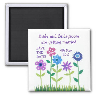 'Save the Date' Magnet, Pink and Blue Flowers Magnet