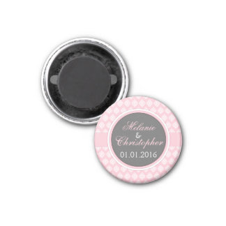 Save the Date magnet Pink grey damask