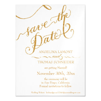 Save the Date Magnet Postcard Script Calligraphy Magnetic Invitations