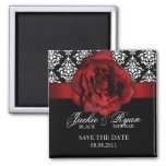 Save the Date Magnet Red Rose Damask