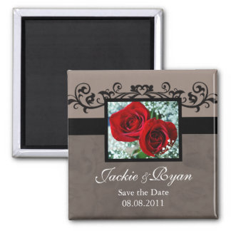 Save the Date Magnet Red Roses heart