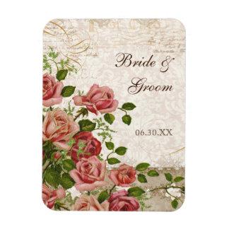 Save the Date Magnet, Trellis Rose Vintage Card