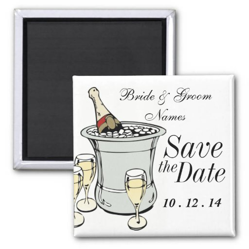 Save the Date Magnet Wedding Champagne Clipart Fridge Magnets
