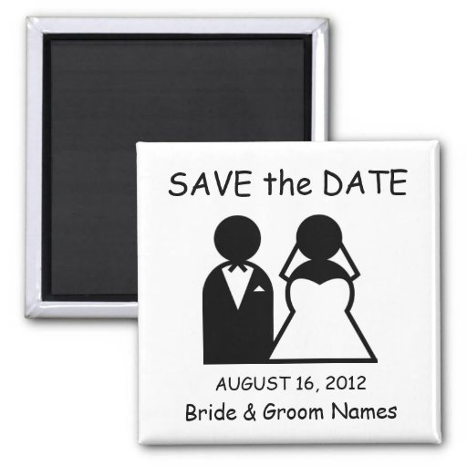 Save the Date Magnet Wedding Couple Clipart Magnets