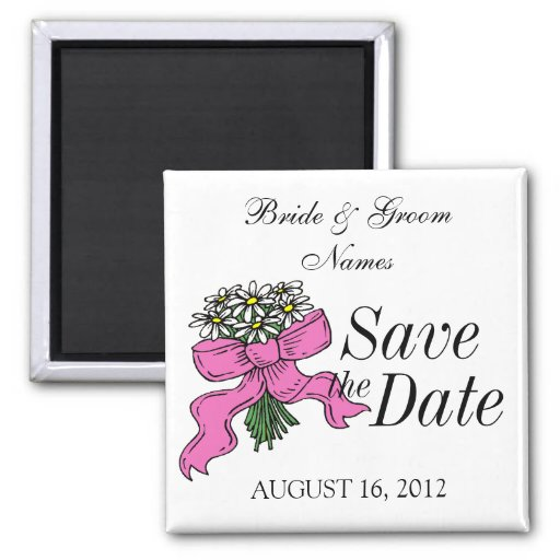 Save the Date Magnet Wedding Daisy Ribbon Clipart Fridge Magnets