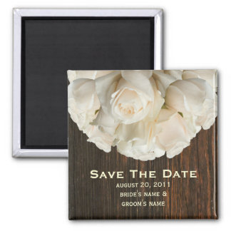 Save The Date Magnet - White Roses & Barnwood