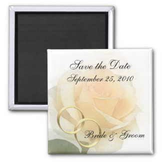 Save the Date Magnet - Yellow Rose w/ Rings