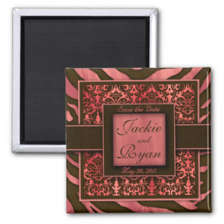 Save the Date Magnet Zebra Damask Coral