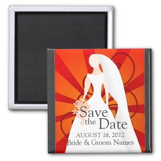 Save the Date Magnets Wedding Bride Red Clipart Refrigerator Magnet