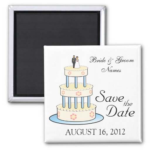 Save the Date Magnets Wedding Cake Couple Clipart Magnet