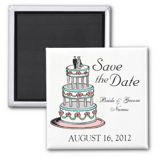 Save the Date Magnets Wedding Cake Couple Clipart Refrigerator Magnet