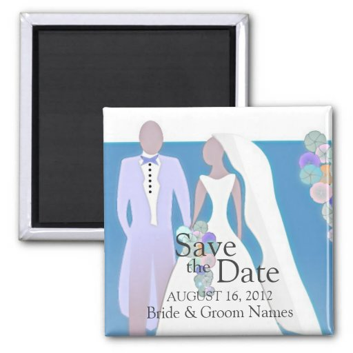 Save the Date Magnets Wedding Couple Blue Clipart Refrigerator Magnet