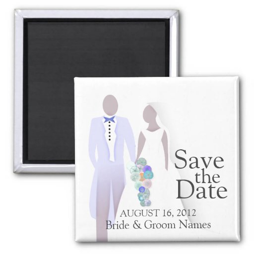 Save the Date Magnets Wedding Couple Clipart Magnet