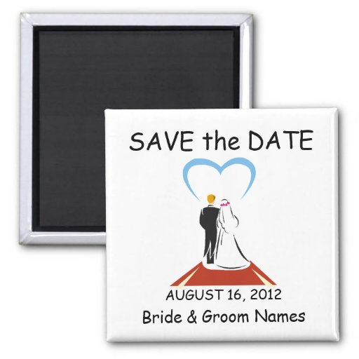 Save the Date Magnets Wedding Couple Heart Clipart Magnet