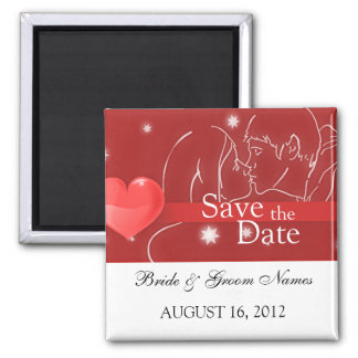 Save the Date Magnets Wedding Couple Kissing