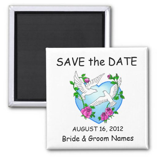 Save the Date Magnets Wedding Doves Roses Clipart Refrigerator Magnet