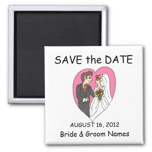 Save the Date Magnets Wedding Heart Couple Clipart Magnet