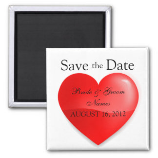 Save the Date Magnets Wedding Names Shiny Heart Fridge Magnet