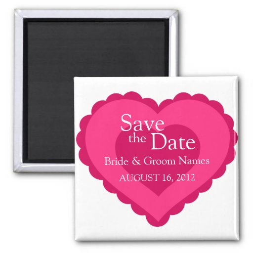 Save the Date Magnets Wedding Pink Heart Clipart Fridge Magnet