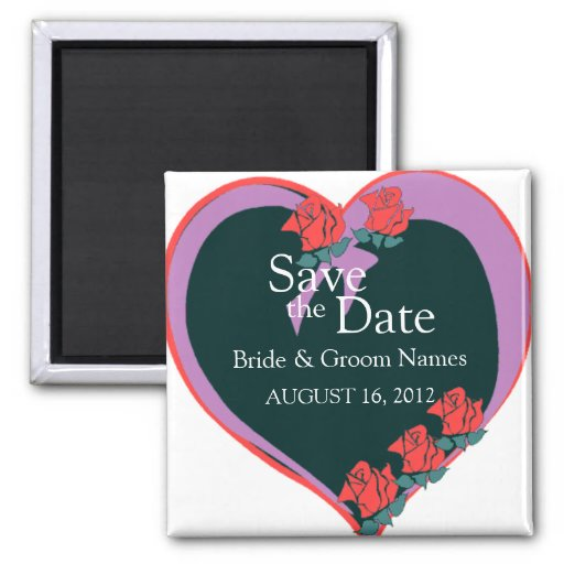 Save the Date Magnets Wedding Purple Heart Clipart Refrigerator Magnet