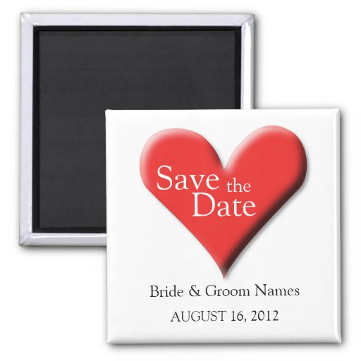 Save the Date Magnets Wedding Red Heart Clipart Fridge Magnets