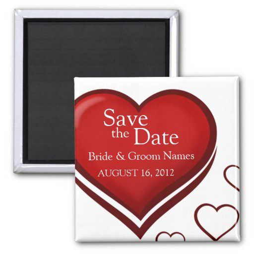 Save the Date Magnets Wedding Red Heart Clipart Magnet