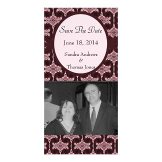 Save the Date Maroon Art Deco Photo Card Template