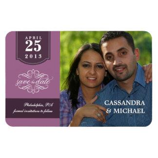 Save the Date - Mauve Custom Photo Vinyl Magnet