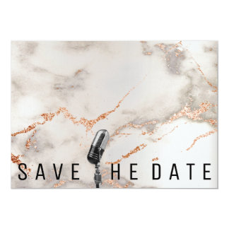Save The Date Microphone Copper Gray Coral Marble Card