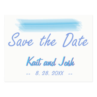 Save the Date Minimalist Soft Ambiance Blue Water Postcard