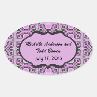 Save the Date Mod Pink Mauve Oval Sticker