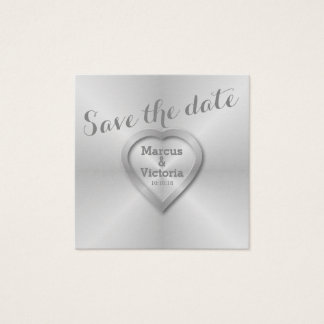 Save the date Modern Brushed Aluminum Square Business Card