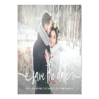 Save the Date   Modern Rustic Photo Magnetic Card