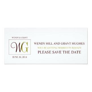 Save the Date Monogram Wedding Logo 10 Cm X 24 Cm Invitation Card