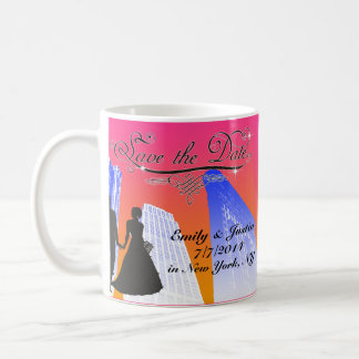 SAVE THE DATE MUG WITH VIEW OF NEW YORK CITY