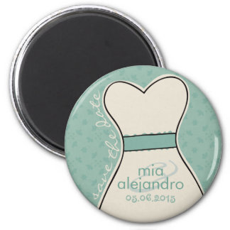 Save the date (names and date) Customizable 6 Cm Round Magnet
