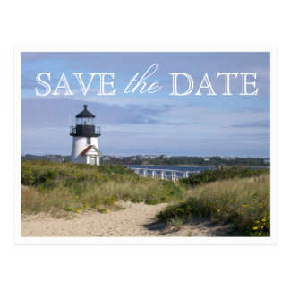 Save the Date Nantucket Wedding Brant Point Light Postcard