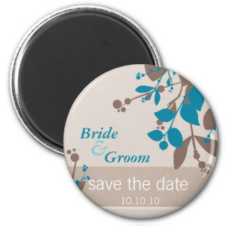 SAVE THE DATE :: nature - latte mocha teal 6 Cm Round Magnet