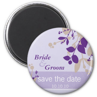 SAVE THE DATE :: nature - lilac purple latte 6 Cm Round Magnet