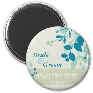 SAVE THE DATE :: nature - moss foam teal 6 Cm Round Magnet