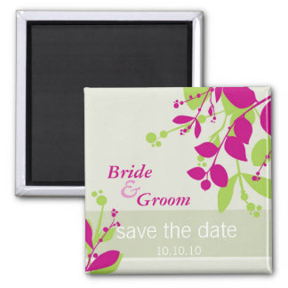 SAVE THE DATE :: nature - olive lime fuschia Square Magnet