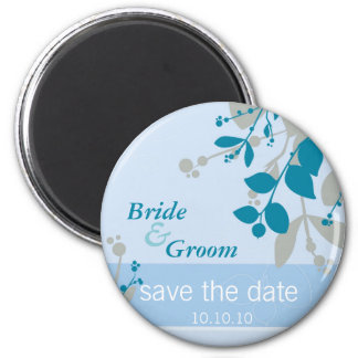 SAVE THE DATE :: nature - pale blue silver teal 6 Cm Round Magnet