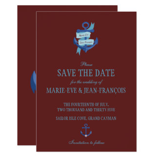 Save the Date Nautical Blue Anchor Card