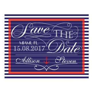 Save the date, nautical design postcard