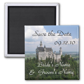 Save the Date Neuschwanstein Castle Square Magnet