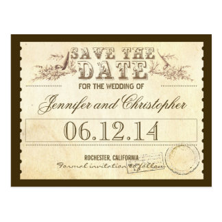 save the date old vintage tickets typographic card post cards