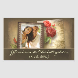 save the date or engagement photo vintage stickers