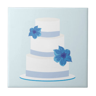 Save the Date or Wedding Cake Print Small Square Tile
