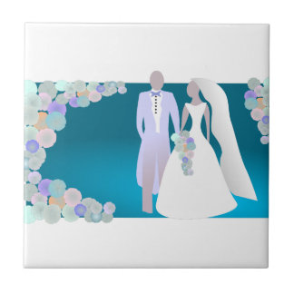 Save the Date or Wedding Print Small Square Tile